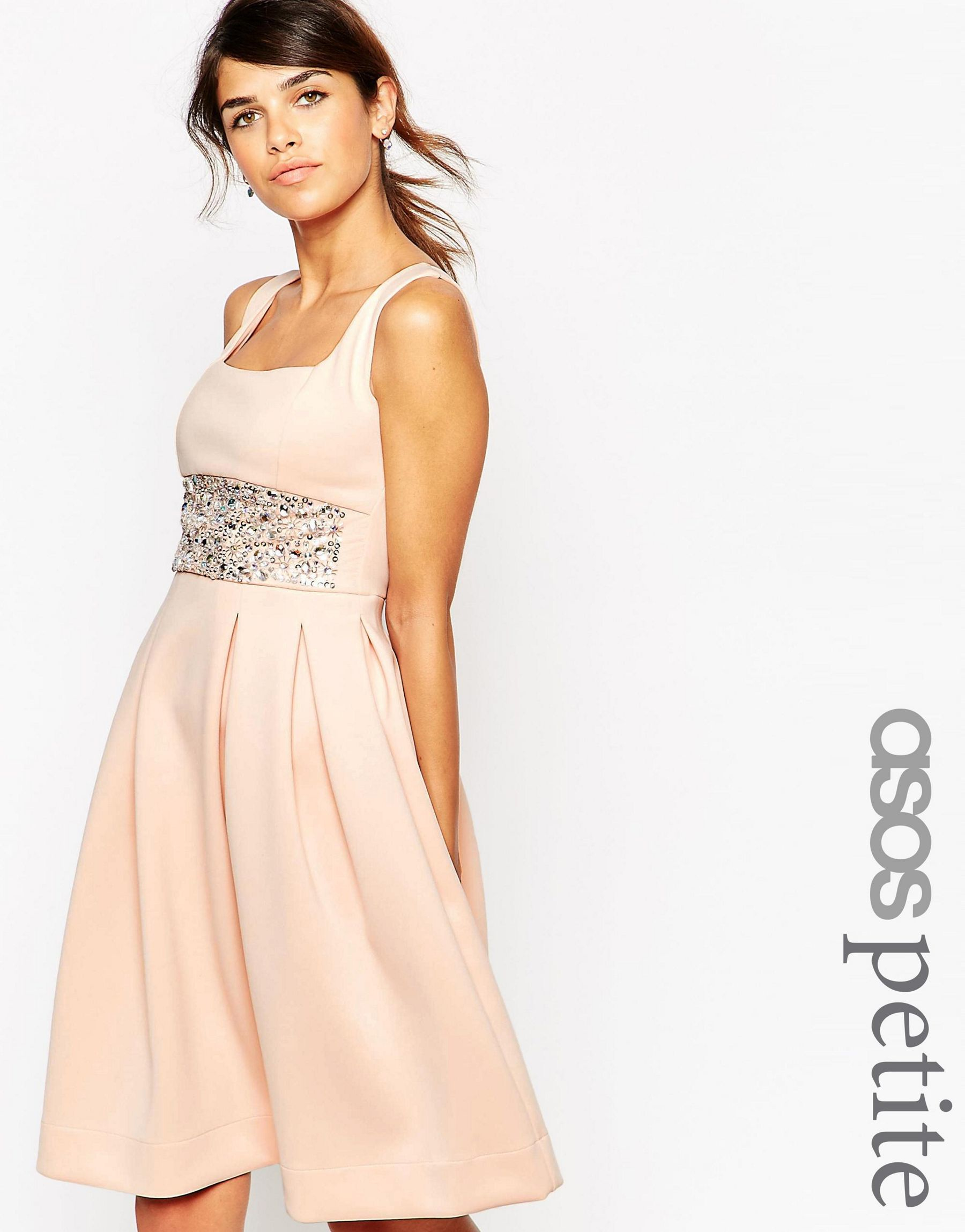 350c6639a8ec Lyst - ASOS Scuba Debutante Midi Dress With Embellished Waist - Nude ...