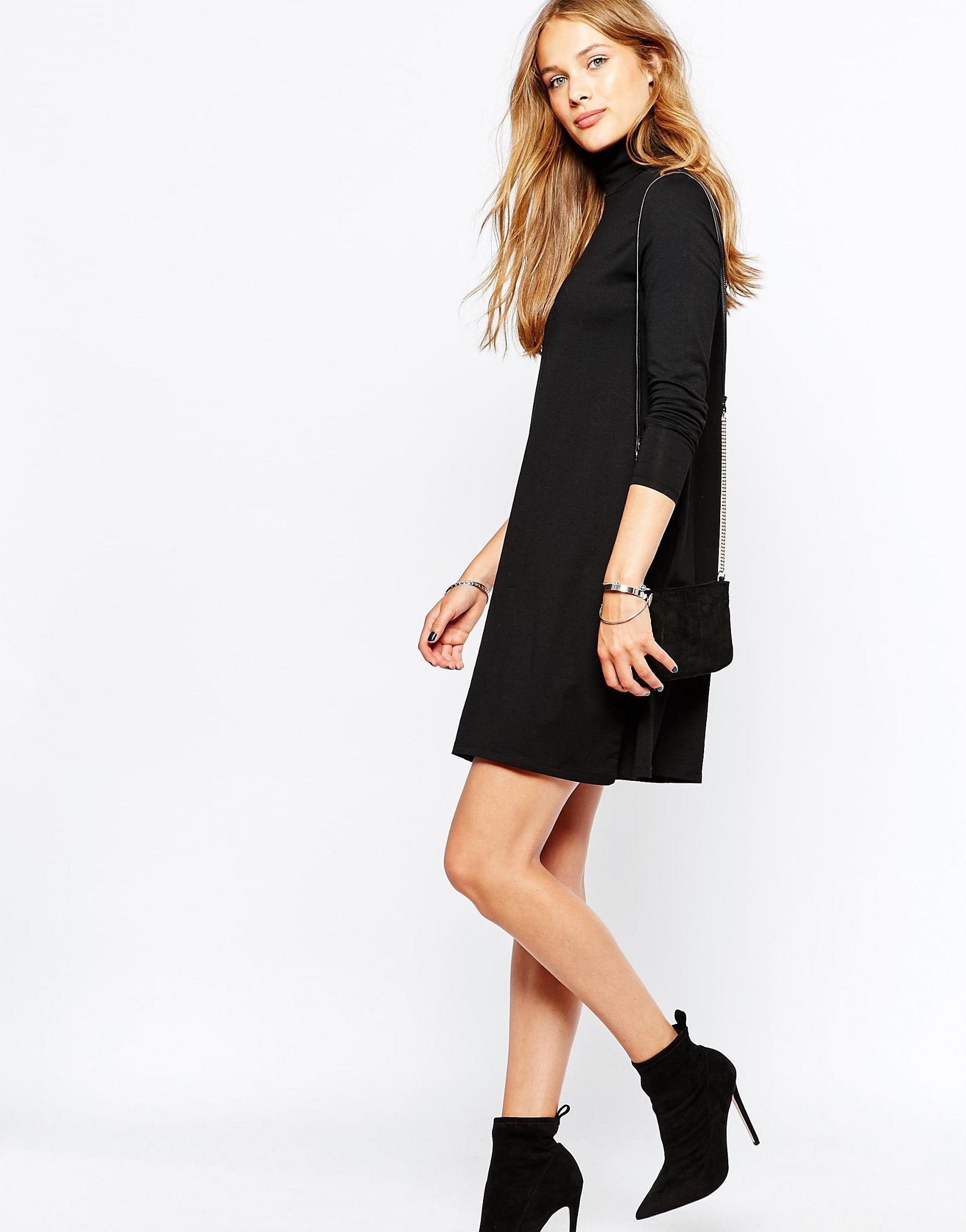 3f940668ad Lyst - Vila Roll Neck Swing Dress in Black