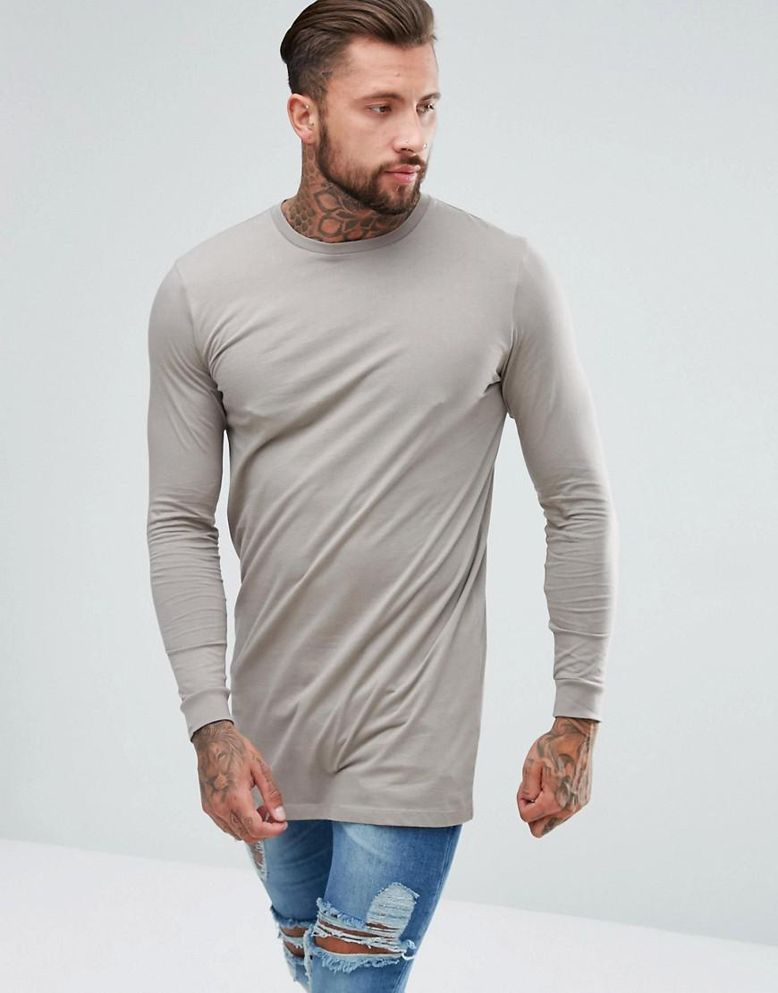 ASOS. Men's Brown Super Longline Long Sleeve T-shirt With Crew Neck In Beige