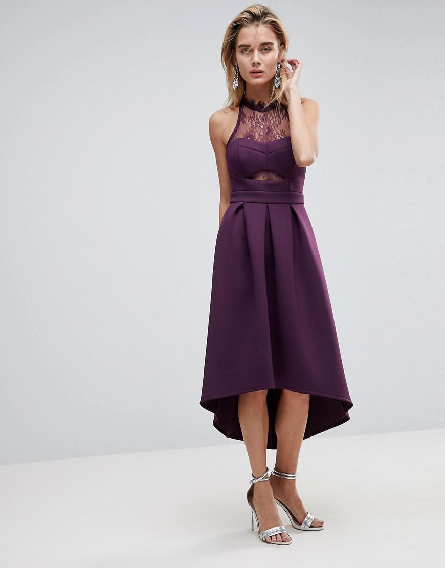 lyst asos halter lace top dip back prom dress in purple. Black Bedroom Furniture Sets. Home Design Ideas