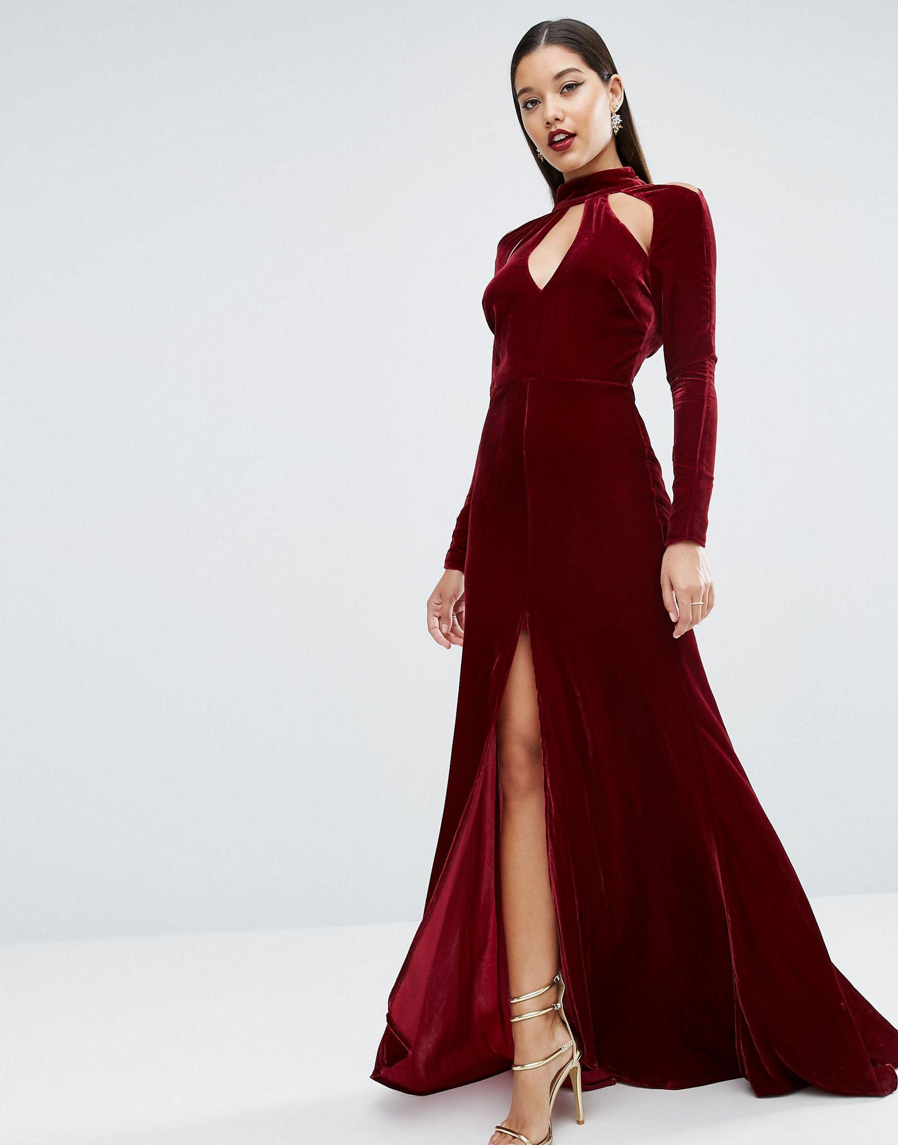 Asos Red Carpet Velvet Keyhole Fishtail Maxi Dress In Red