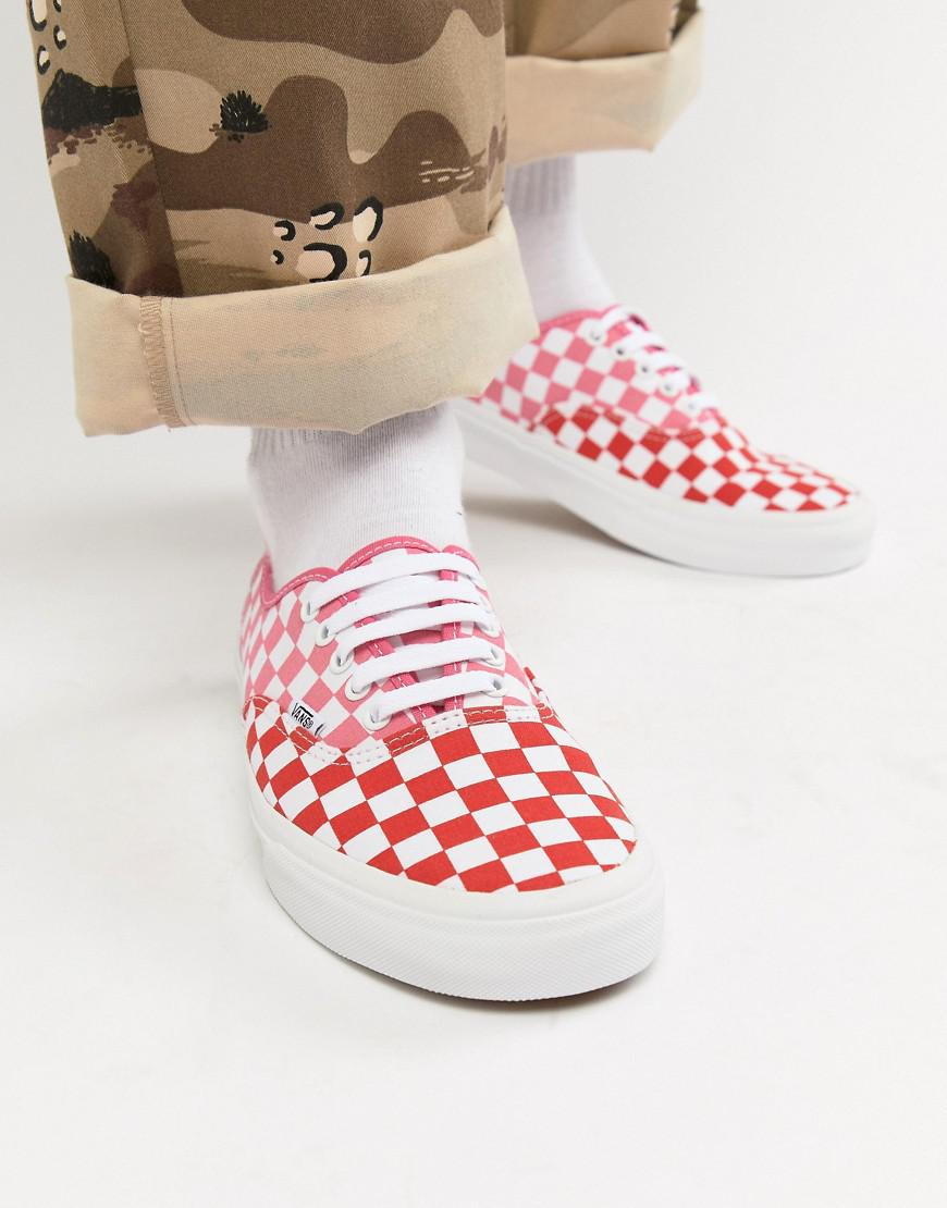 b031eebfbe95 Vans Authentic Checkerboard Plimsolls In Pink Exclusive At Asos in Green  for Men - Lyst
