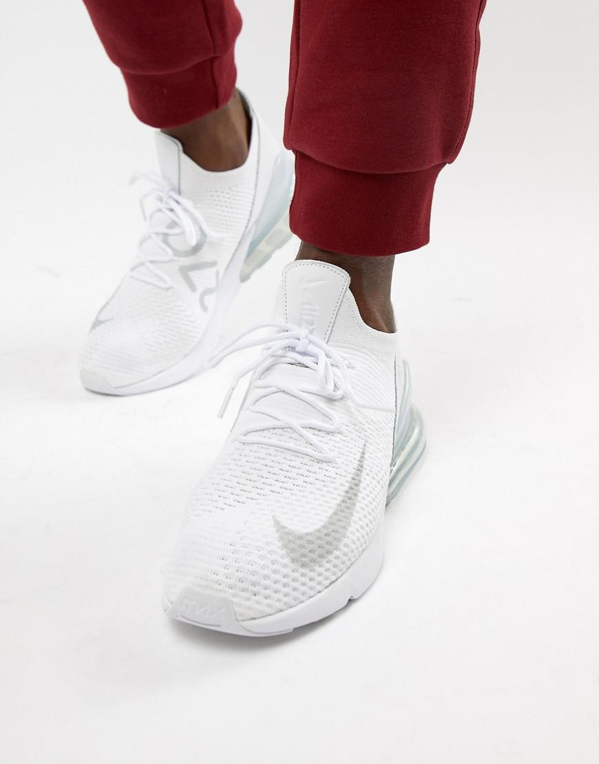 finest selection b287c a0b35 Nike Air Max 270 Flyknit Trainers In White Ao1023-102 in White for ...