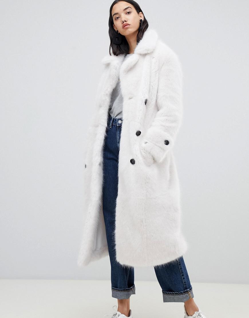386550cbffe Lyst - Urbancode Fendora Faux Fur Trench Coat in White