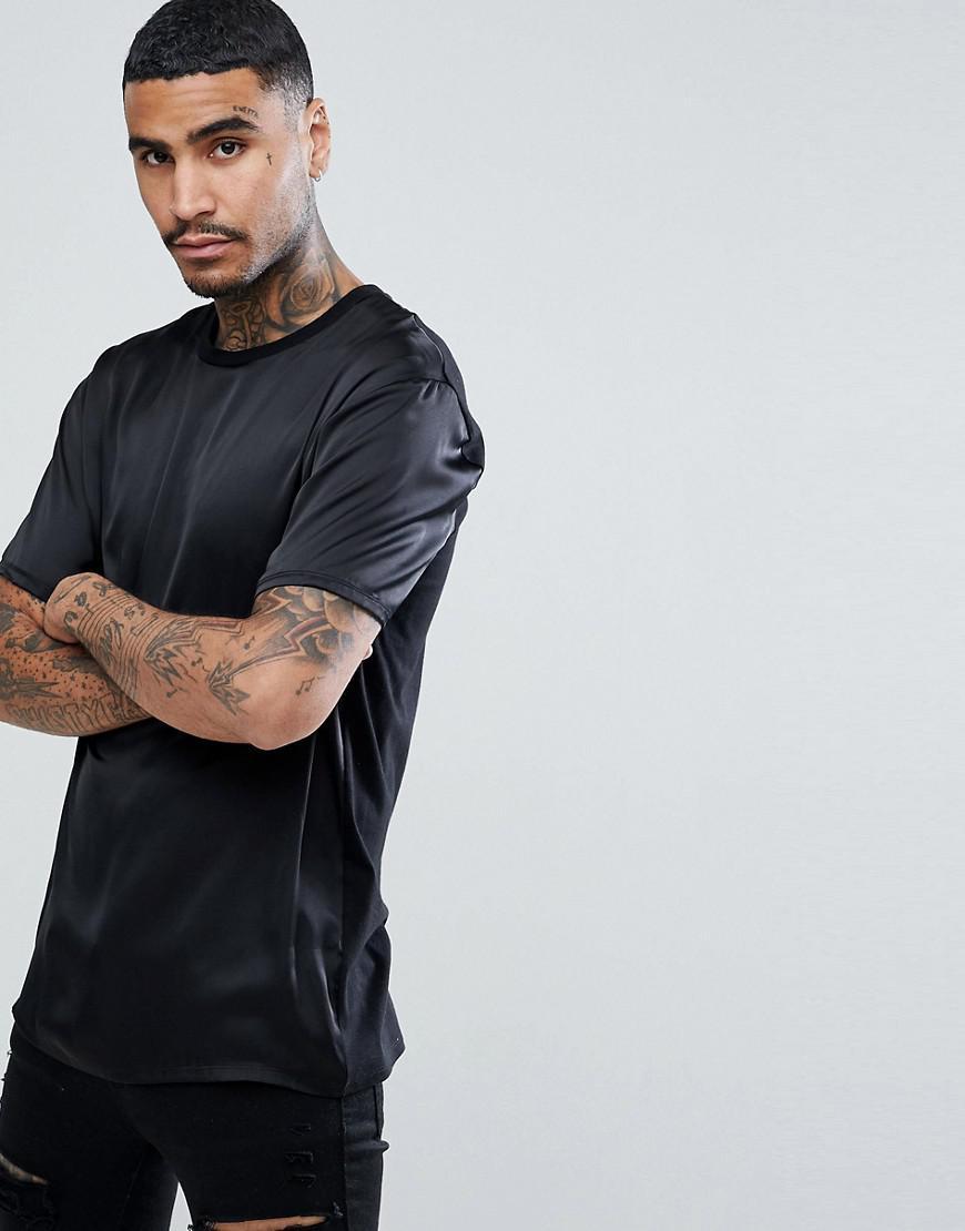 c1c3cb611ecb ASOS Asos Longline T-shirt In Black Satin in Black for Men - Lyst