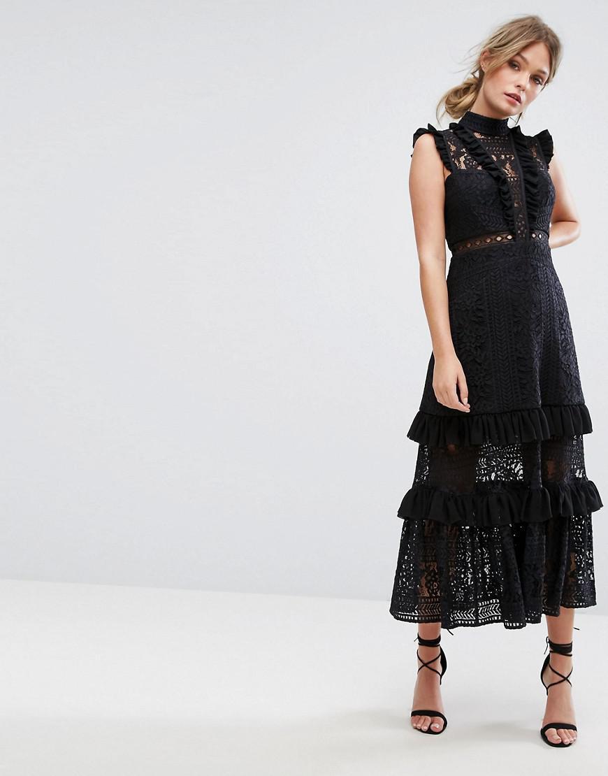 Design A Room App For Ipad: Three Floor Tiered Lace Midi Dress In Black
