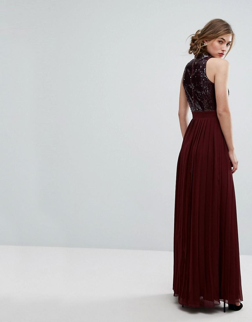 7fc4e037 Little Mistress Allover Sequin Top Maxi Dress With Pleated Skirt in ...
