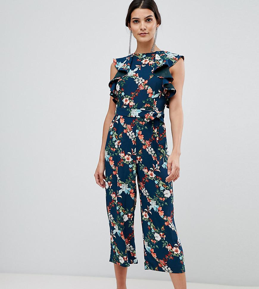 aac4dbc7d025a Oasis. Women s Blue Fitzwilliam Collection Jumpsuit In Floral Print With  Frill Shoulder