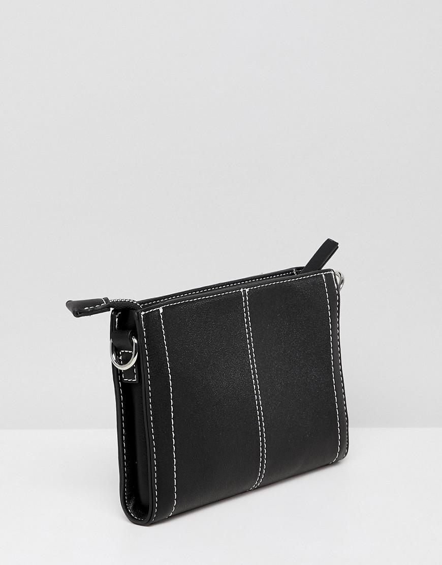 fb7625e783d8 Lyst - Pieces Trish Small Crossbody Handbag With Contrast Stitching in Black