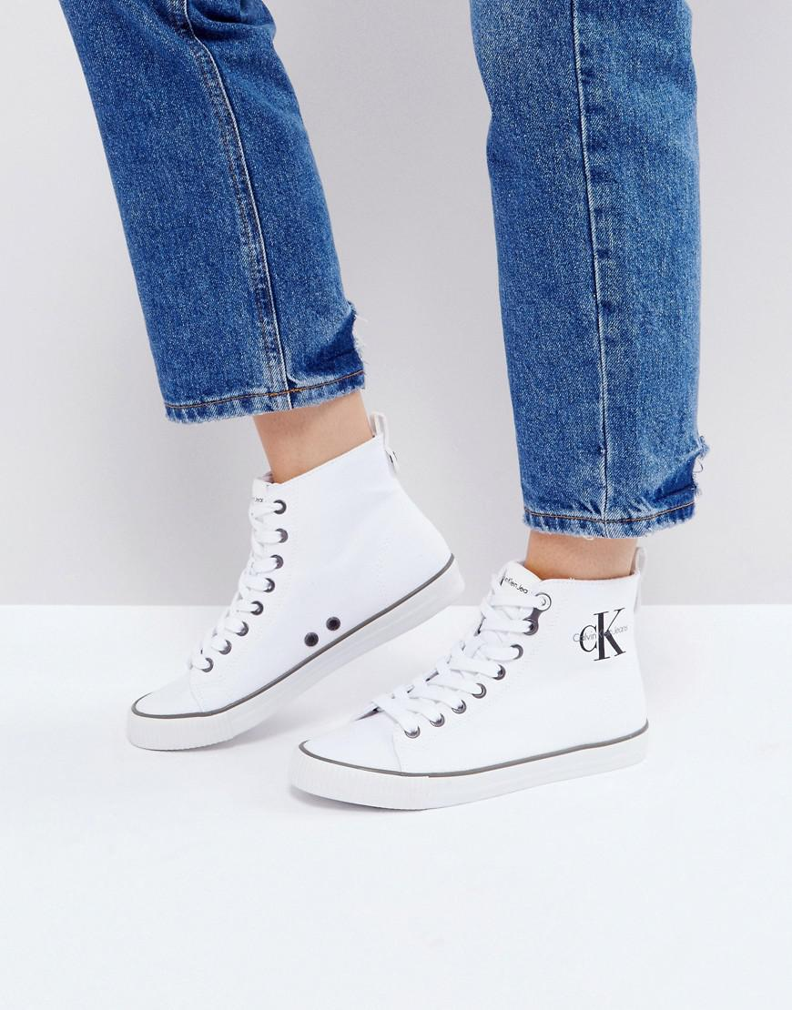 110b3dd375 Calvin Klein Dolores White Canvas High Top Trainers in White - Lyst