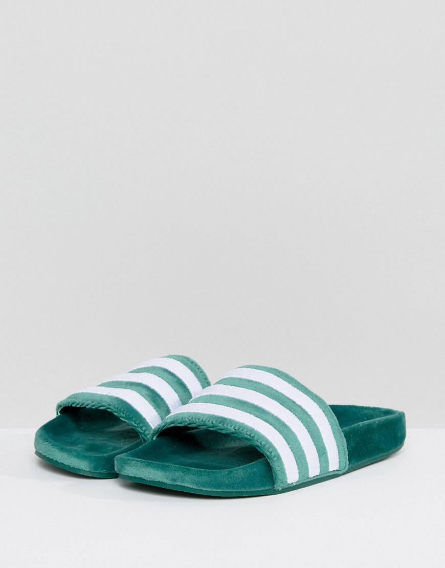 cd551111481c4 adidas Originals Adilette Velvet Slides in Green - Lyst