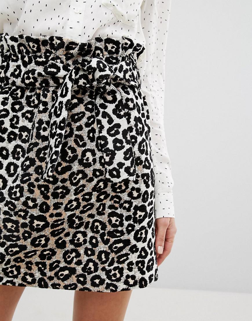 d9d75305ee Lyst - Mango Leopard Print Tie Front Mini Skirt in Black