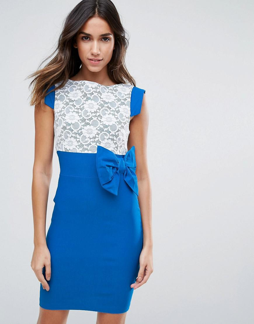 Mini Dress With Lace Panel And Bow Detail - Blue Vesper ck1ZB5IYue