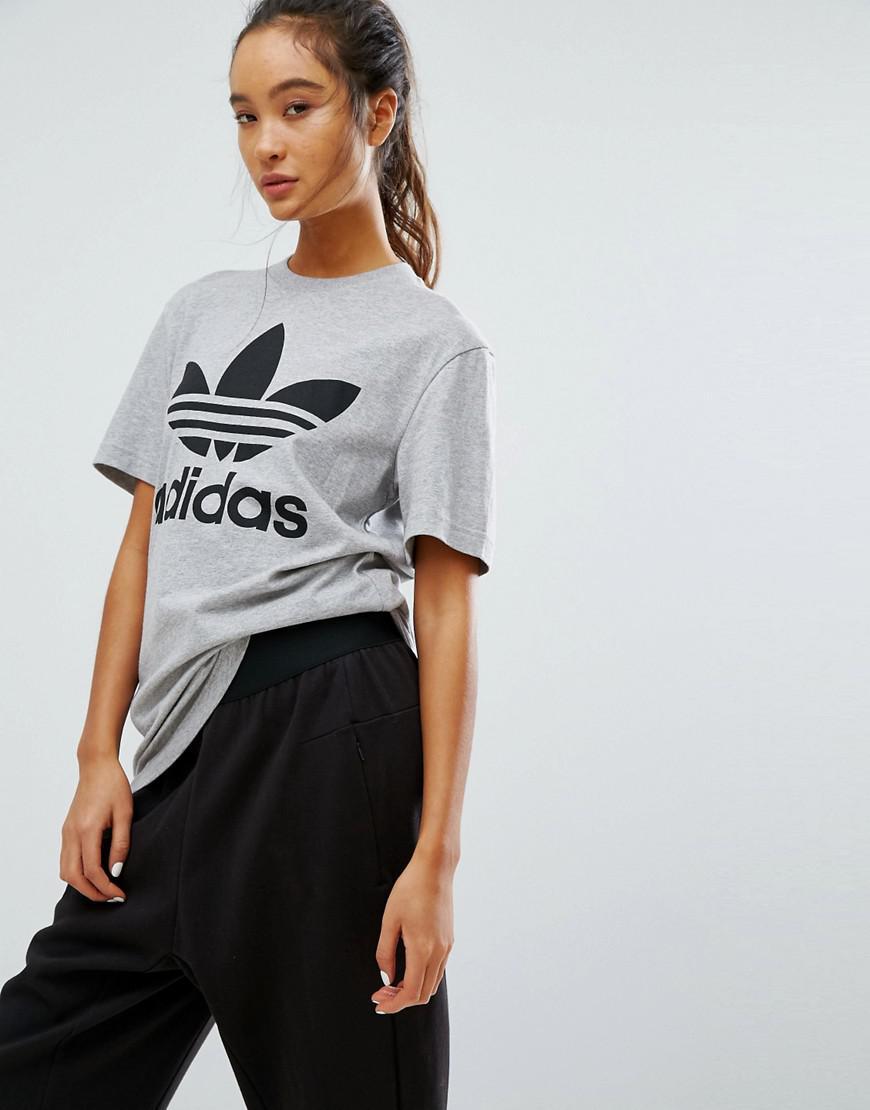 d71fd7bf01ec0e Womens Adidas Originals Grey Trefoil Boyfriend Sweatshirt – DACC