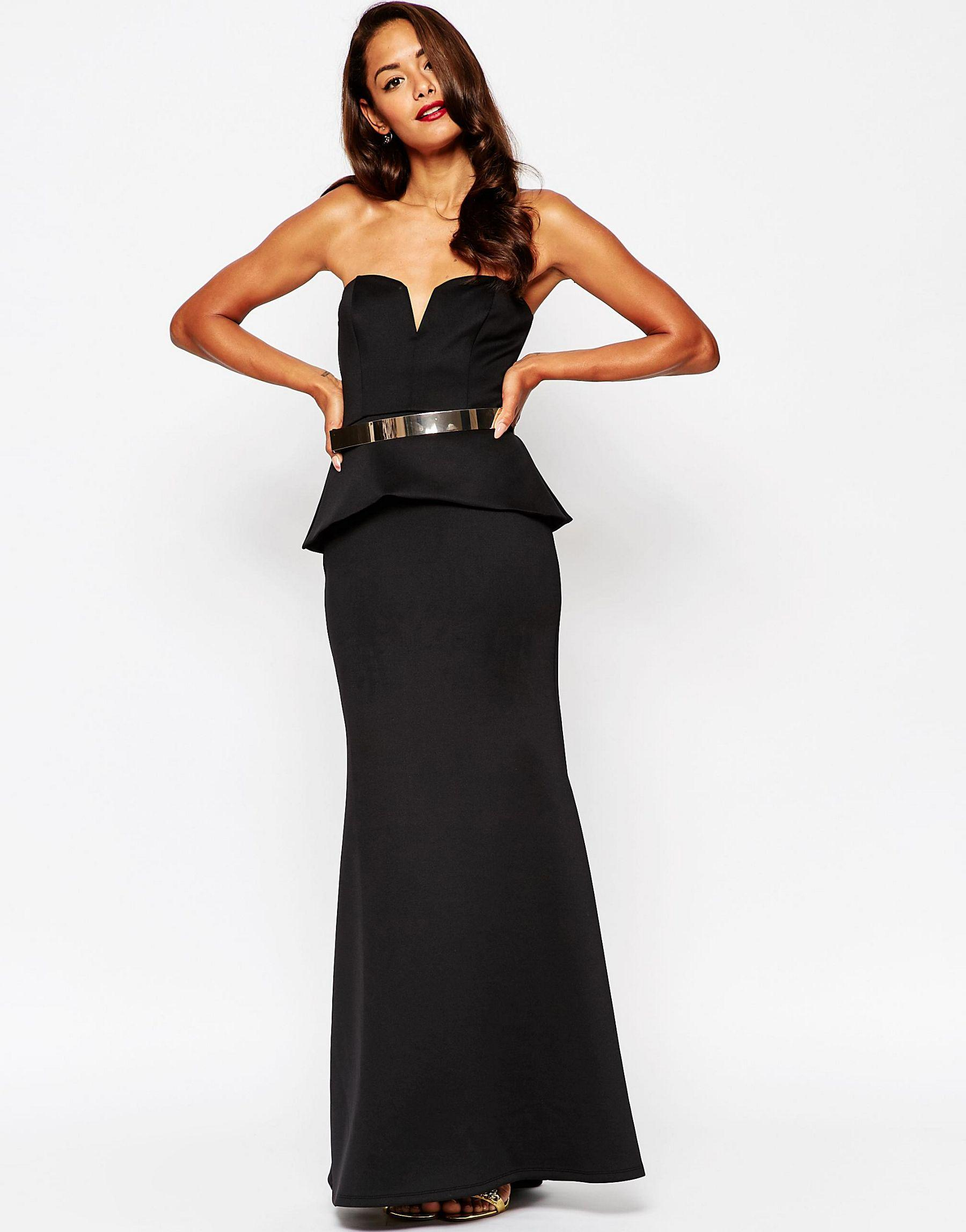 asos carpet gold belt clean peplum maxi fishtail dress