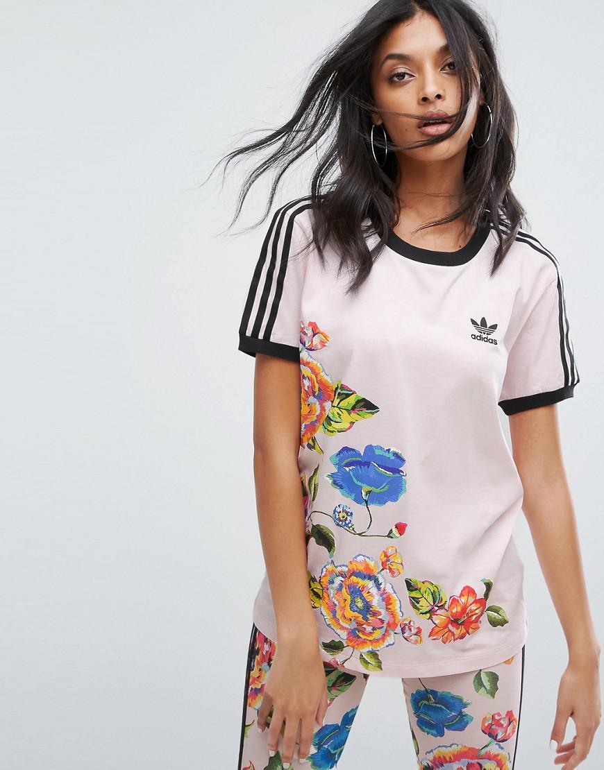 5dec090e545 Lyst - adidas Originals X Farm Floralita Tee in Pink