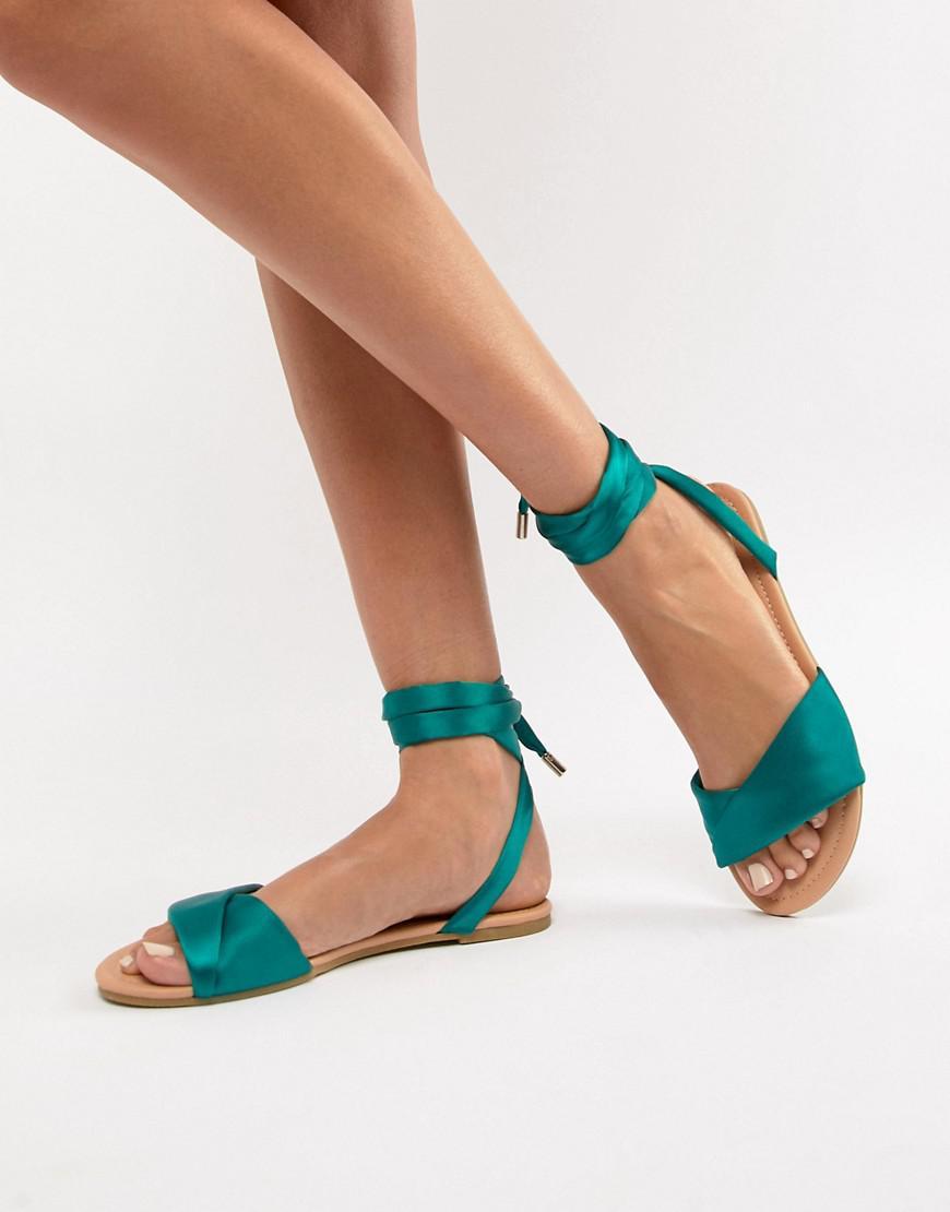 37a372619ca ASOS Flashing Tie Leg Flat Sandals in Green - Lyst