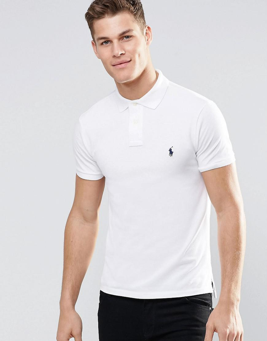 ecca8e25 Polo Ralph Lauren Slim Fit Polo With Logo In White in White for Men - Save  13% - Lyst