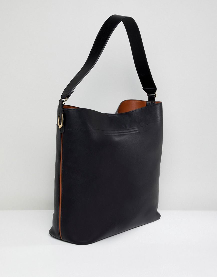 150077c5ef29 Lyst - Asos Oversized Structured Shopper Bag With Contrast Detail in Black
