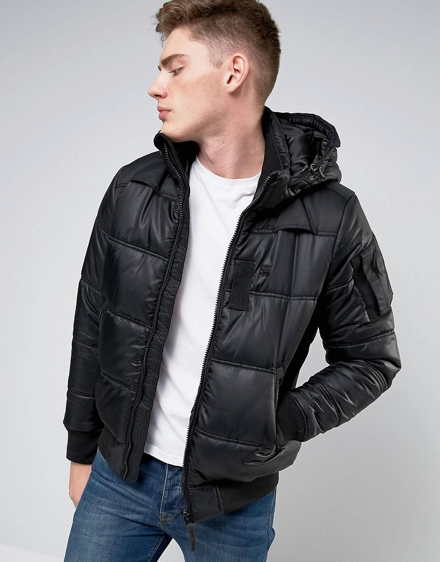 g star raw whistler hooded bomber jacket in black for men lyst. Black Bedroom Furniture Sets. Home Design Ideas