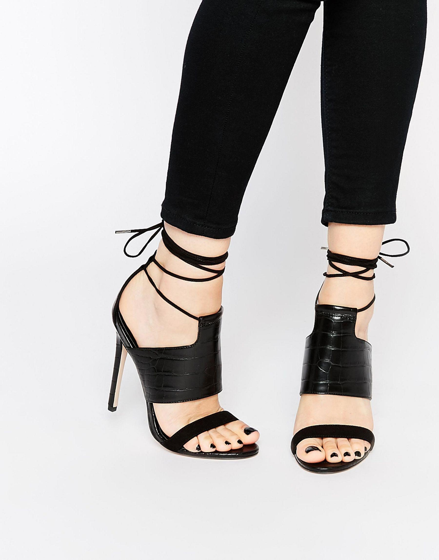 b004fdf107a Lyst - Asos Hendricks Lace Up Heeled Sandals in Black