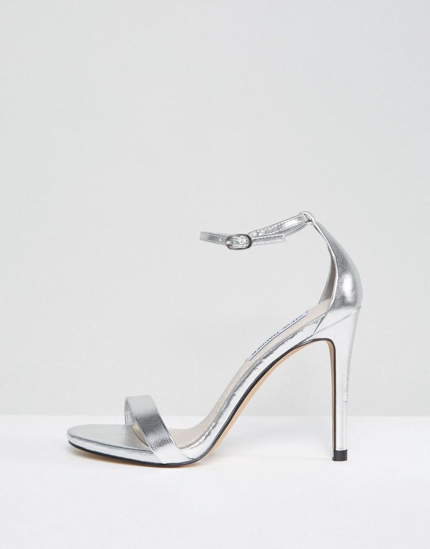 a5286035bc8 Steve Madden Stecy Silver Heeled Sandals in Metallic - Lyst