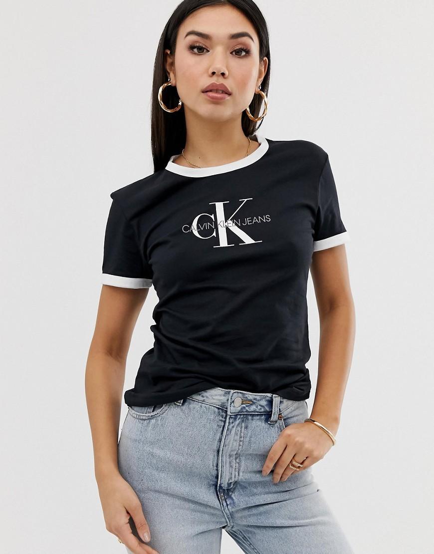 68b67fab30e Calvin Klein Reissue Logo Ringer T Shirt in Black - Lyst