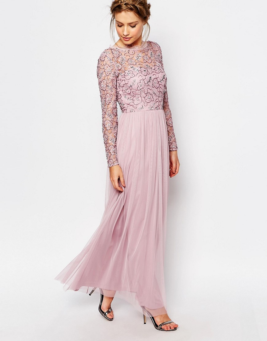17ac011d52d Lyst - Frock and Frill Embellished Lace Overlay Maxi Dress in Pink