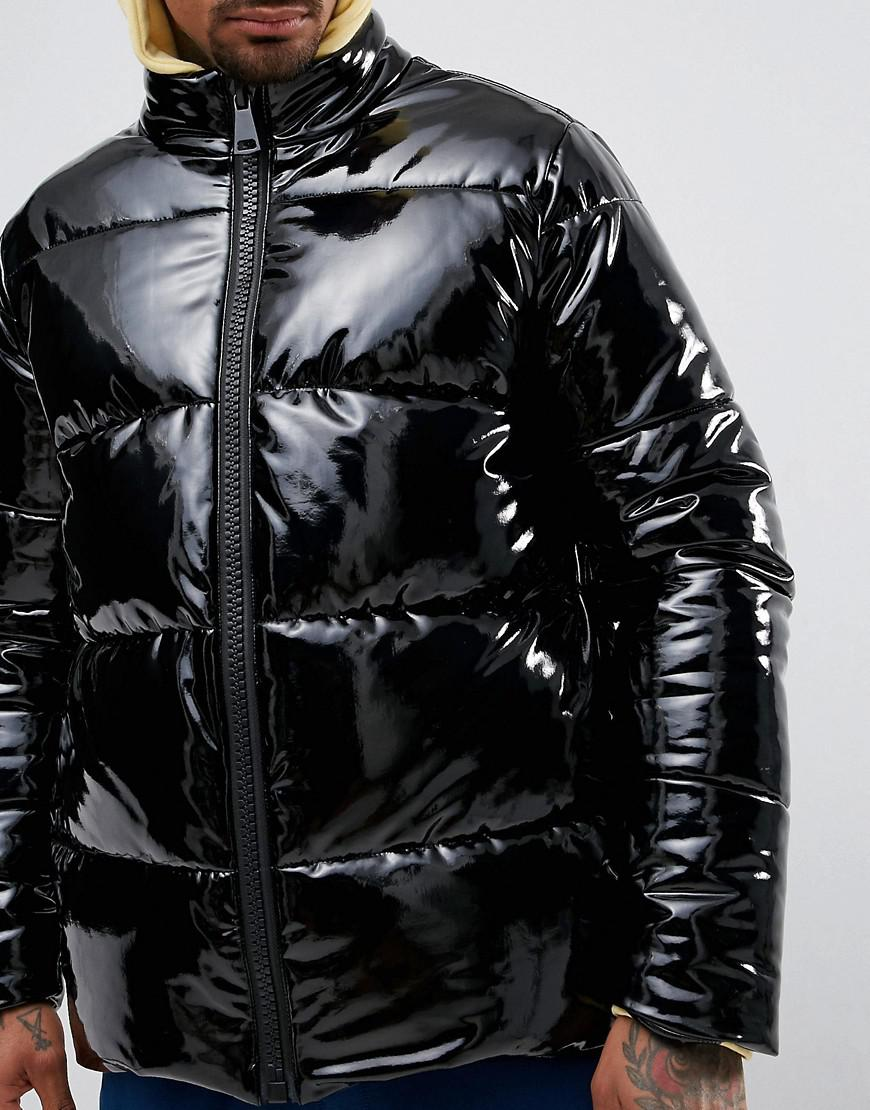 Lyst Asos Vinyl Puffer Jacket In Black In Black For Men