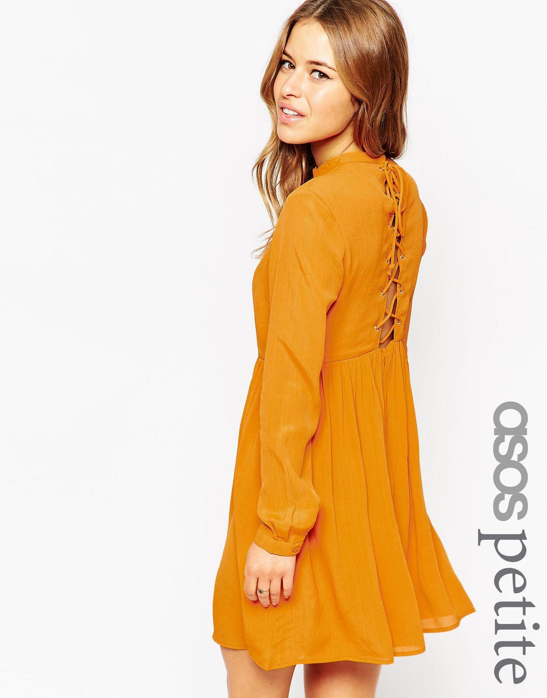 4e9e5ecc5b Asos Petite Skater Dress With Lace Up Back in Purple - Lyst