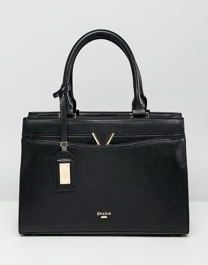 ee5734df295e Dune - Dalis Black Tote Bag With V Bar Detail - Lyst. View fullscreen