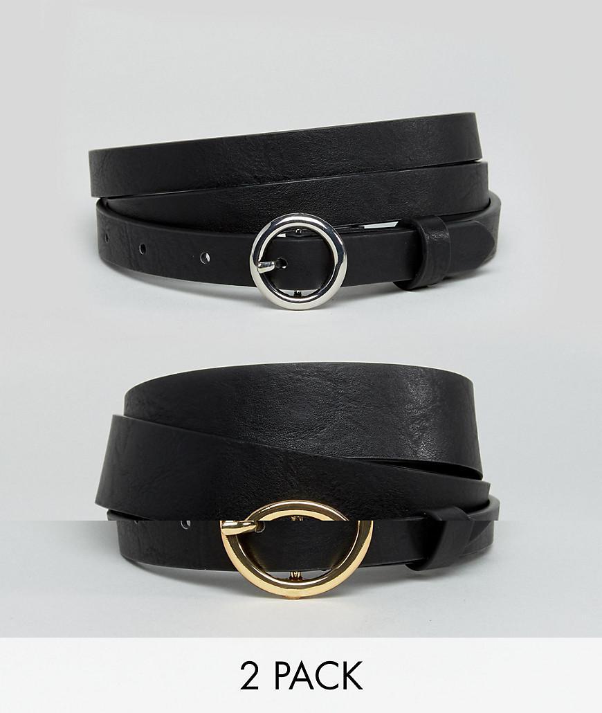 211f2efb7f7 ASOS. Women s Black Asos Design Curve 2 Pack Circle Buckle Waist And Hip  Jeans Belts