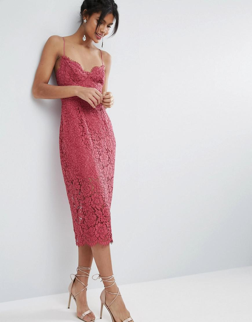 7e6dd110a97e Lyst - ASOS Lace Cami Midi Dress With Strappy Back in Pink