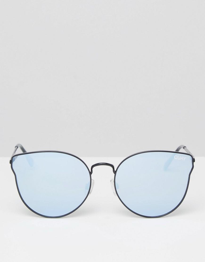 38a9596c50048 Quay All My Love Black Metal Cat Eye Sunglasses With Flat Mirror ...