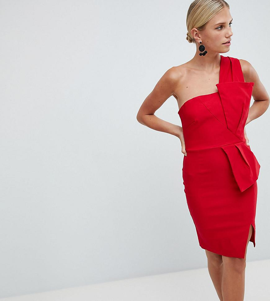 ebdc15760fc1 Vesper One Shoulder Pencil Dress With Bow Waist in Red - Lyst