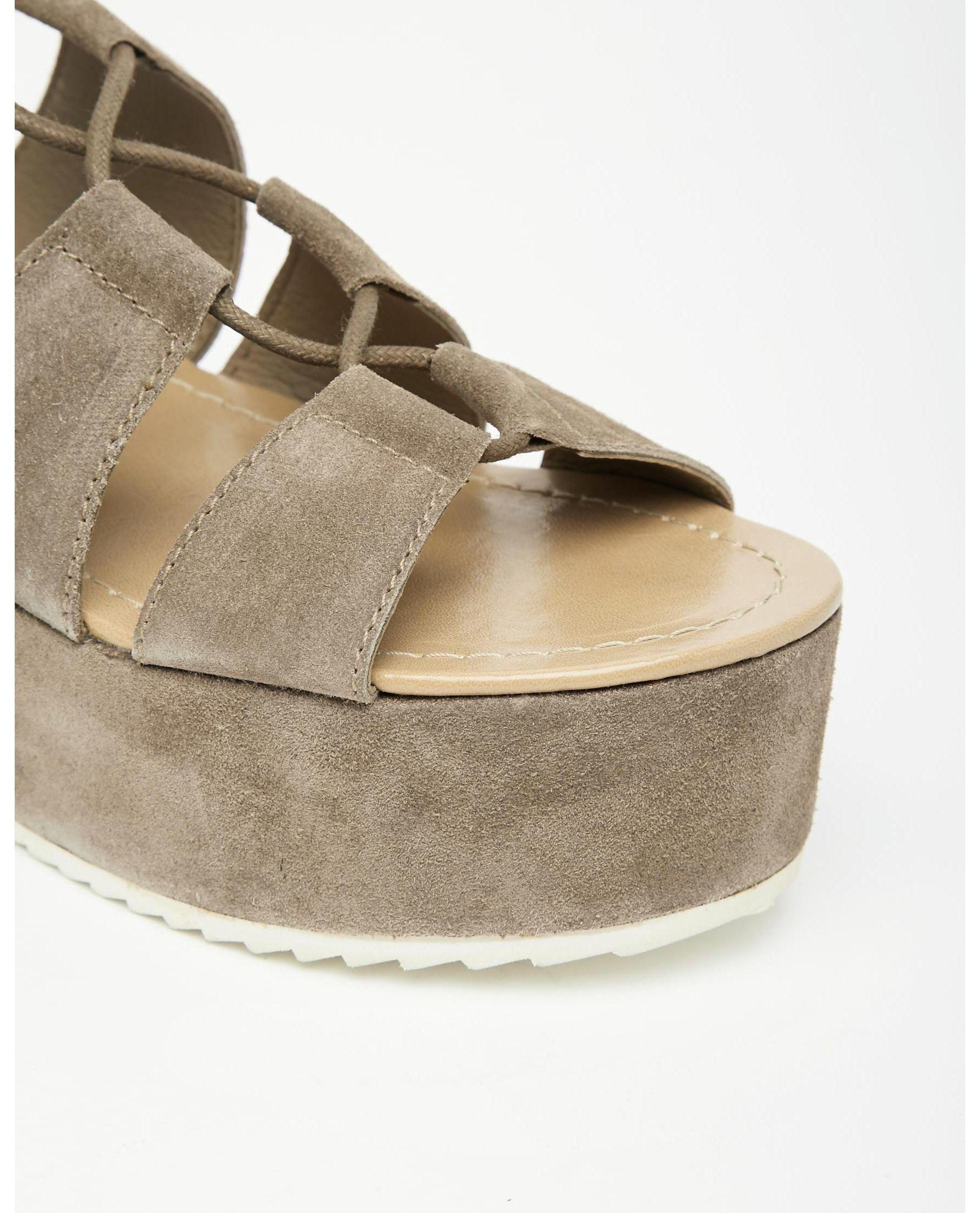 9ca7a4bd6ecc Lyst - Park Lane Ghillie Lace Suede Flatform Sandals