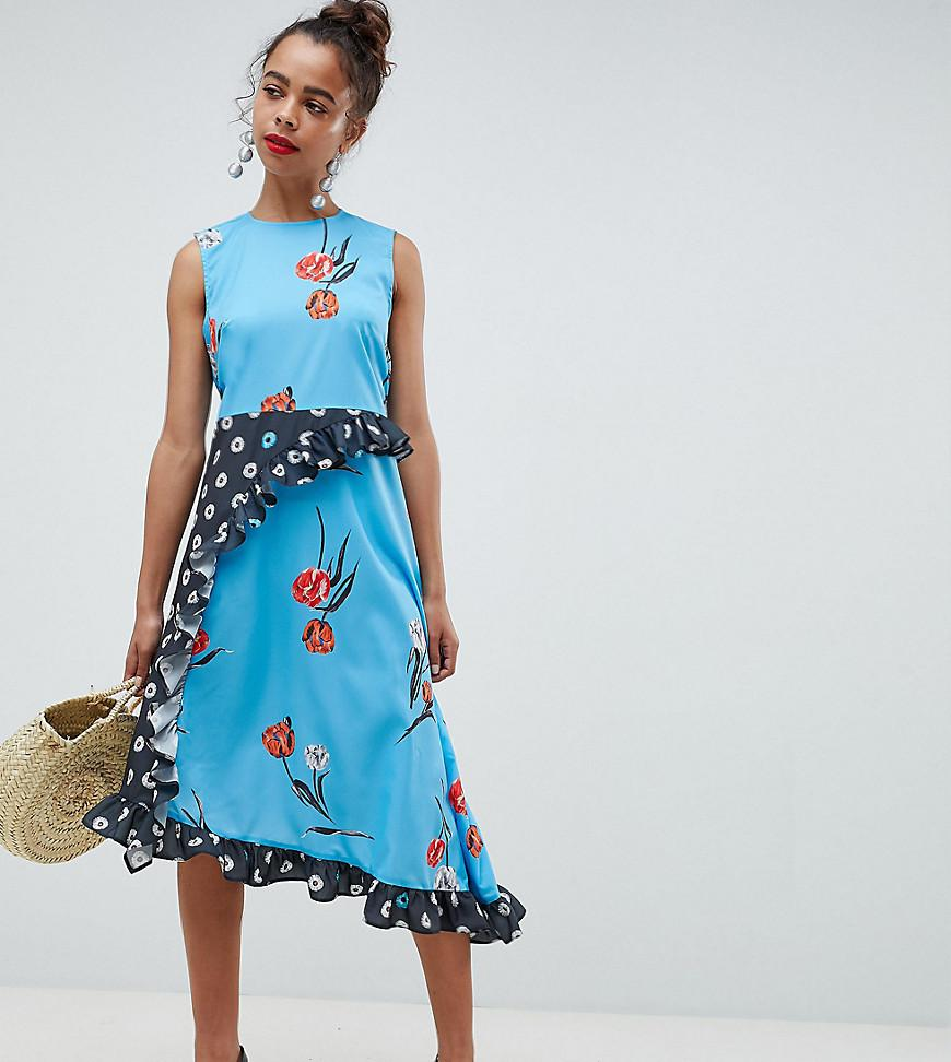 DESIGN Halterneck Midi Sundress In Mixed Floral Gingham Print - Multi Asos Is47SYb7xH