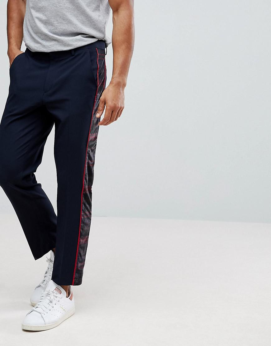 Slim Crop Smart Trousers With Velvet Check Side Stripe - Navy Asos tvVwa