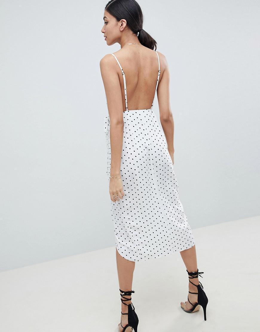 869587022 ASOS Asos Design Tall Lingerie Wrap Midi Dress In Satin Polka Dot in White  - Lyst