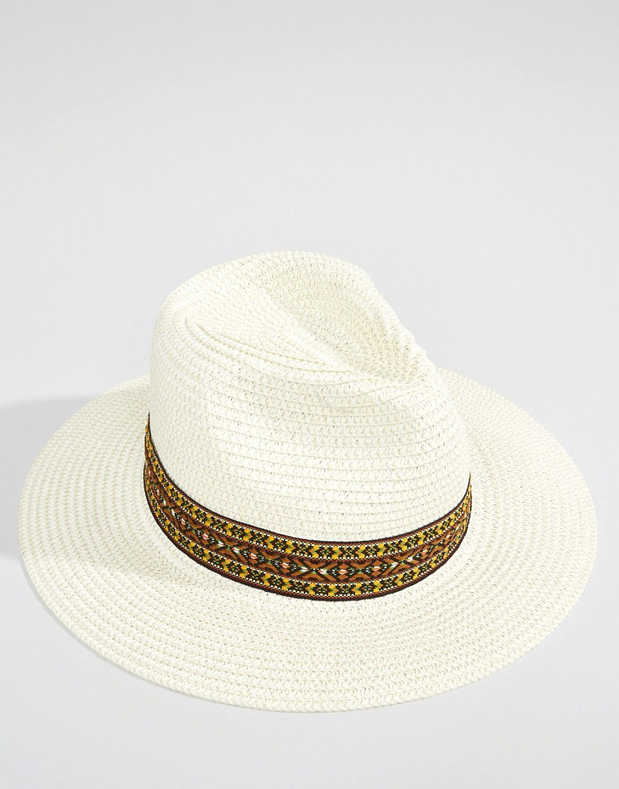 Liquorish Wide Brim Fedora Straw Hat With Patterned Band in White - Lyst 5cacf1b9ff5e