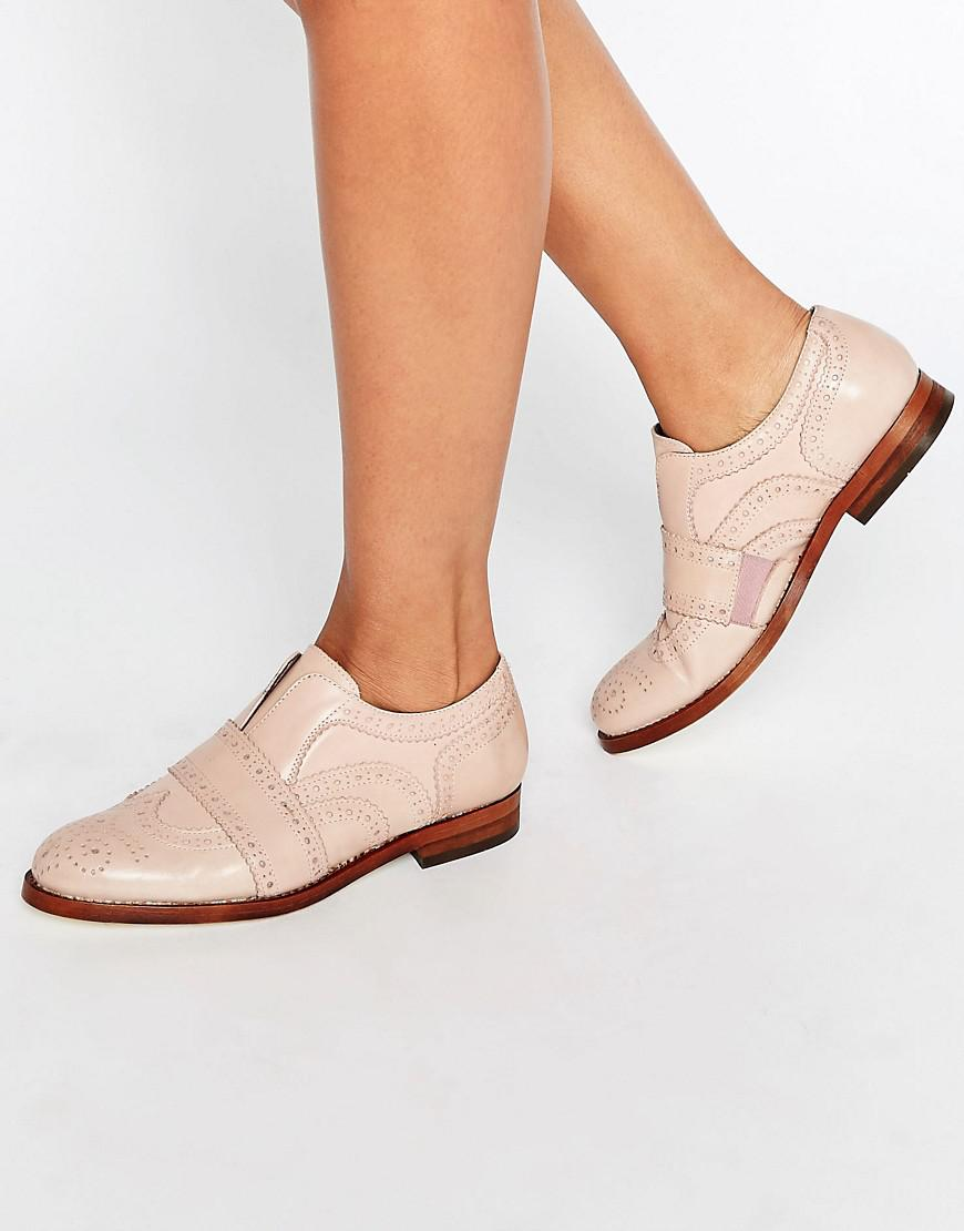 1a3e3aa92c H by Hudson Maddie Blush Leather Slip On Brogues in Pink - Lyst