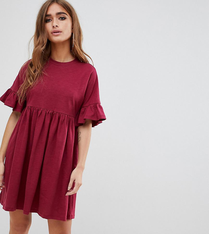 46ceeb14d66 ASOS. Women s Red Asos Design Petite Cotton Slubby Frill Sleeve Smock Dress