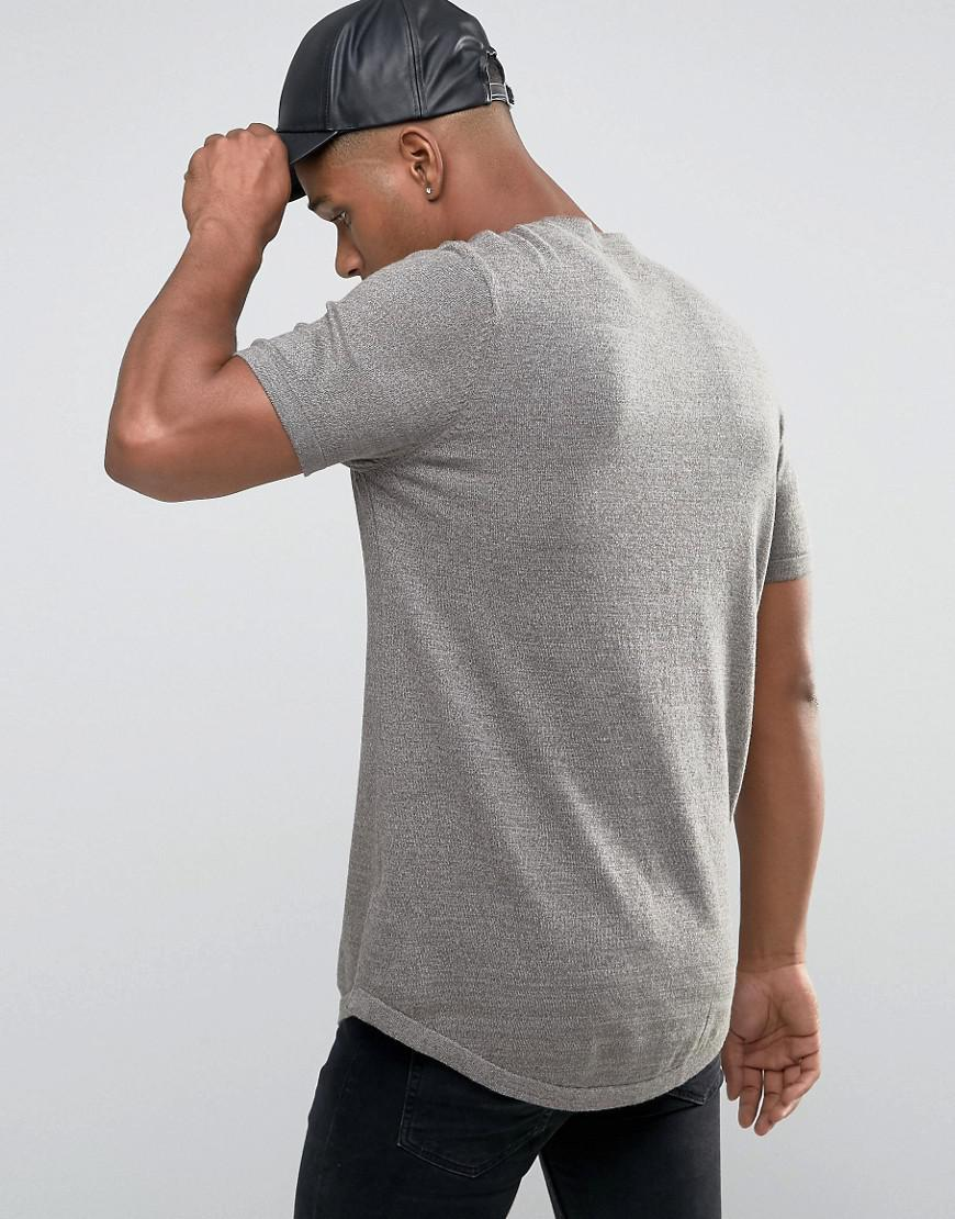 8a707b6e Lyst - Asos Longline Knitted T-shirt With Curved Hem in Green for Men