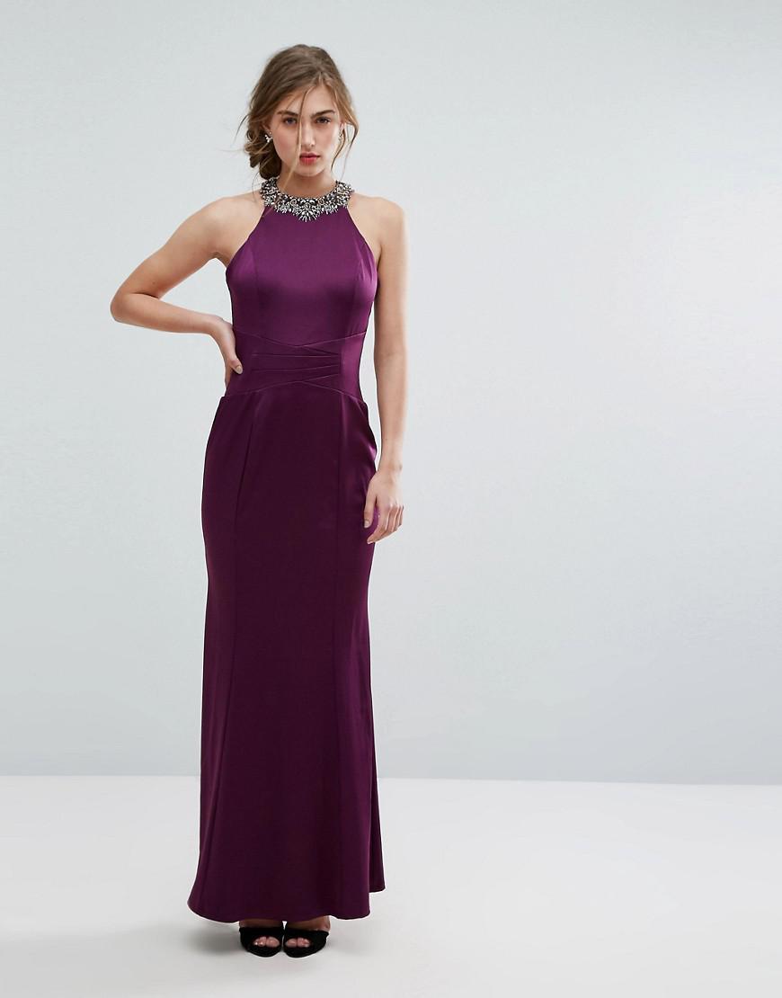 Little Mistress Embellished High Neck Fishtail Maxi Dress