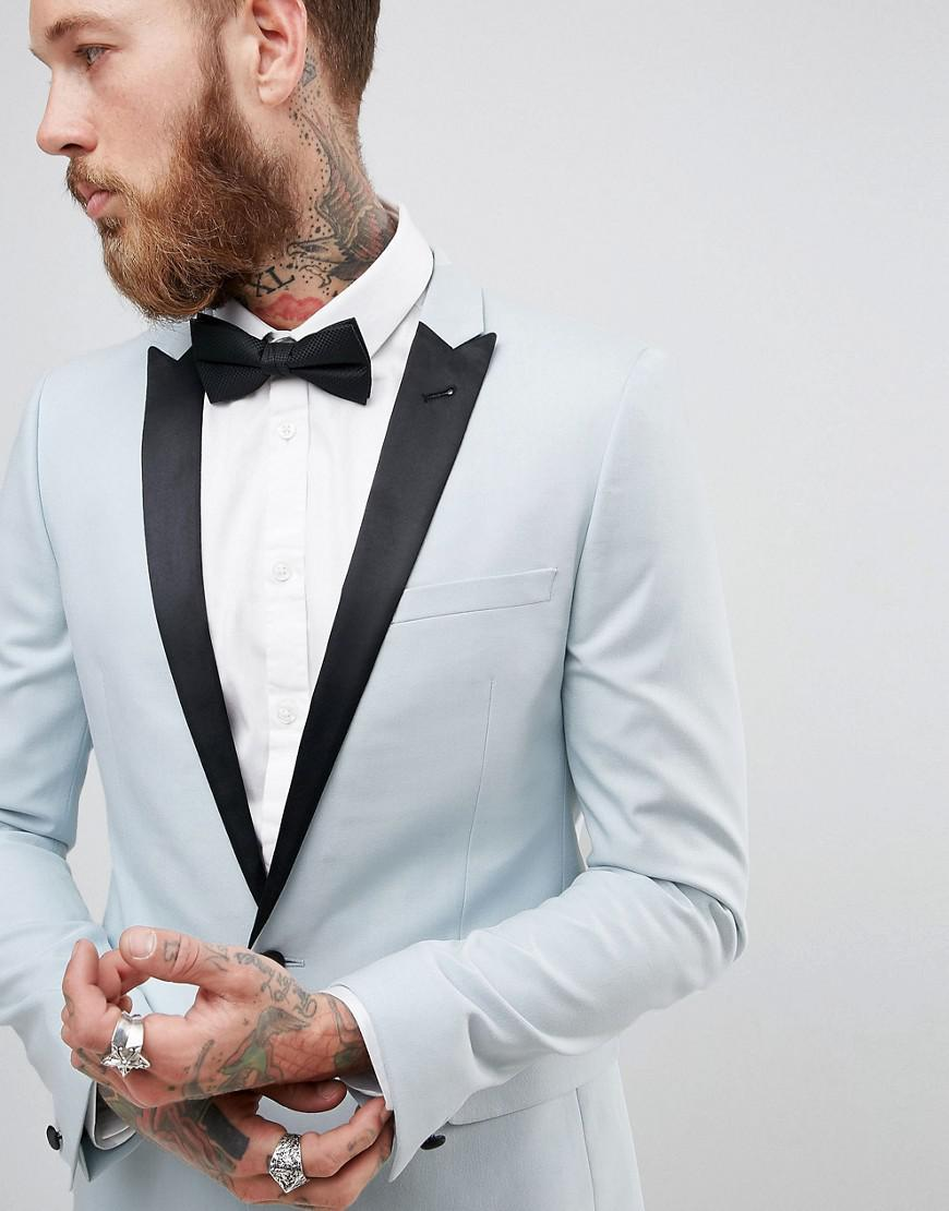 Lyst - Asos Wedding Skinny Tuxedo Suit Jacket In Ice Blue in Blue ...