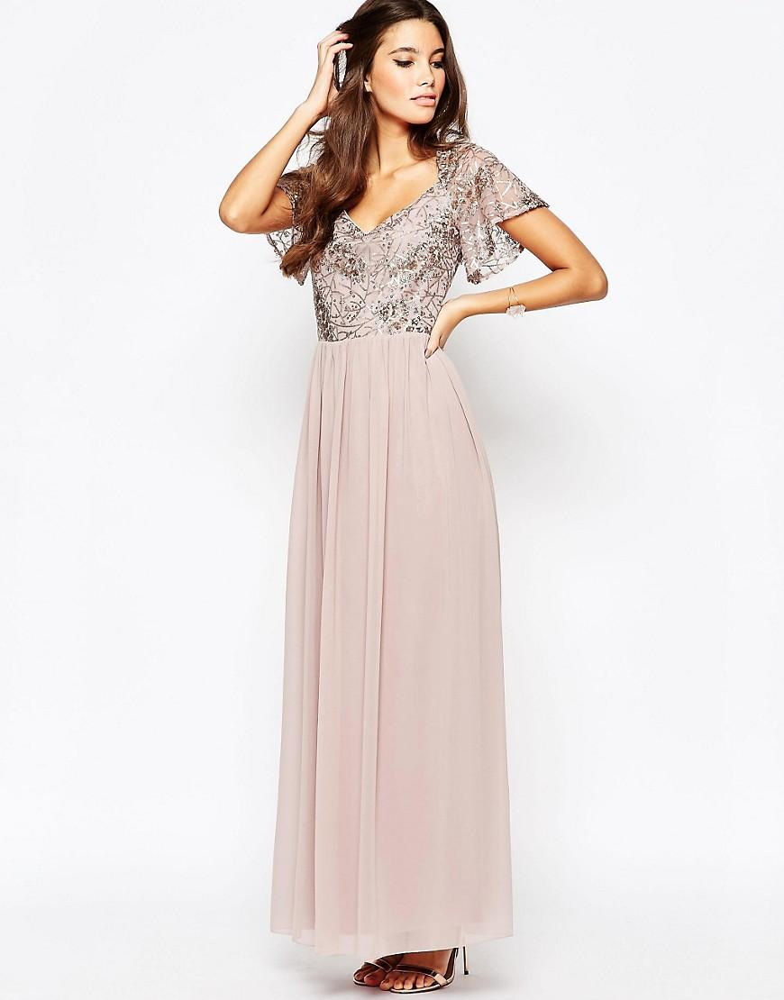 2cd9387b810b Little Mistress Chiffon Maxi Dress With Sequin Top And Fluted Sleeve ...