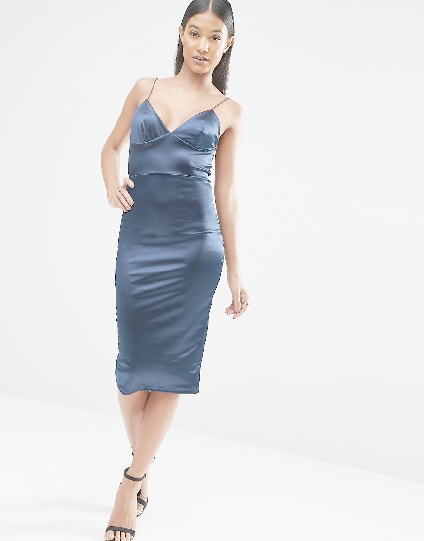 Club L Satin Cami Strap Midi Dress In Blue Lyst