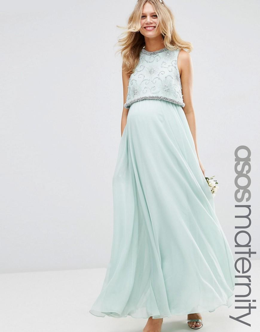 77a05bb715f ASOS Wedding Embellished Crop Top Maxi Dress in Green - Lyst