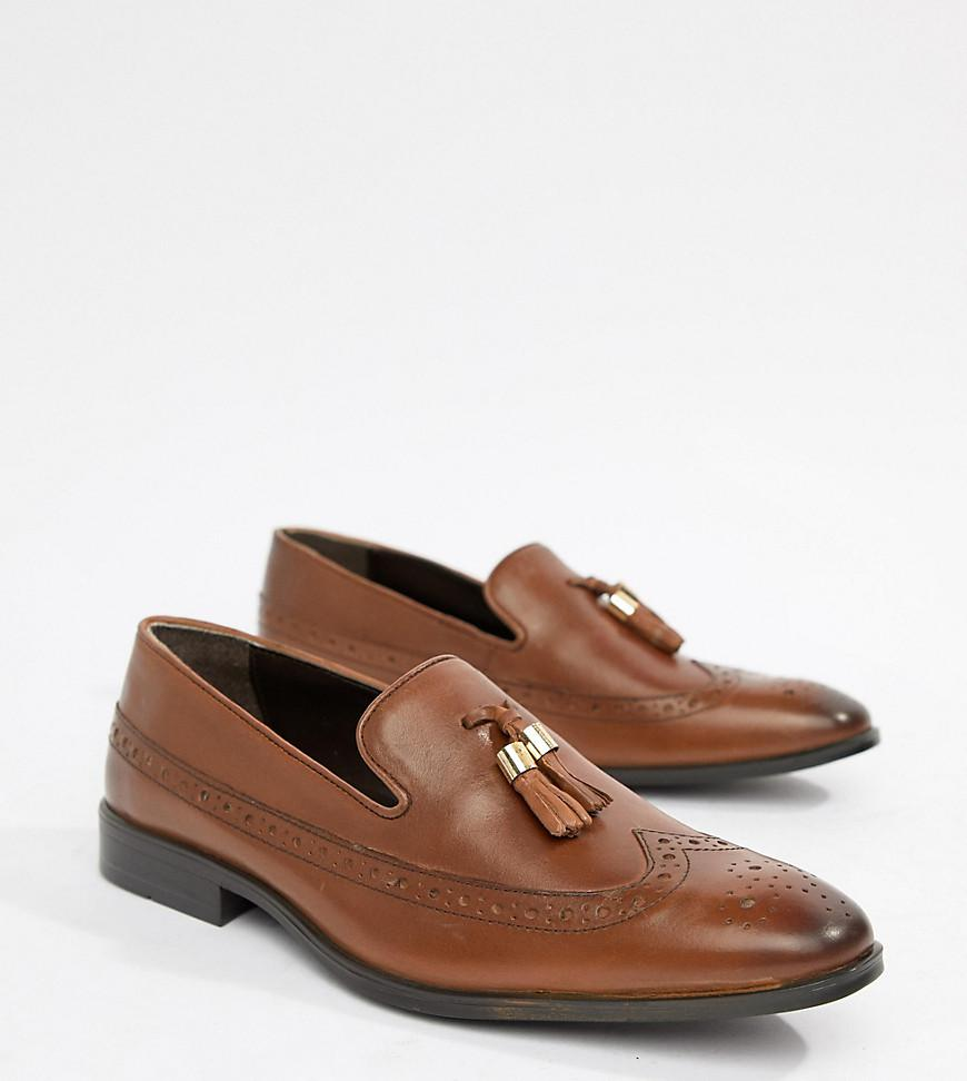 75574439c9e ASOS. Men s Brown Wide Fit Brogue Loafers In Tan Leather With Gold Tassel  Detail