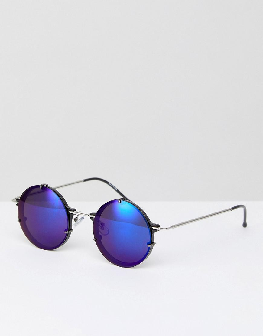 50bb1f1c5ae Spitfire Infinity Round Sunglasses With Blue Mirror Lens in Metallic ...